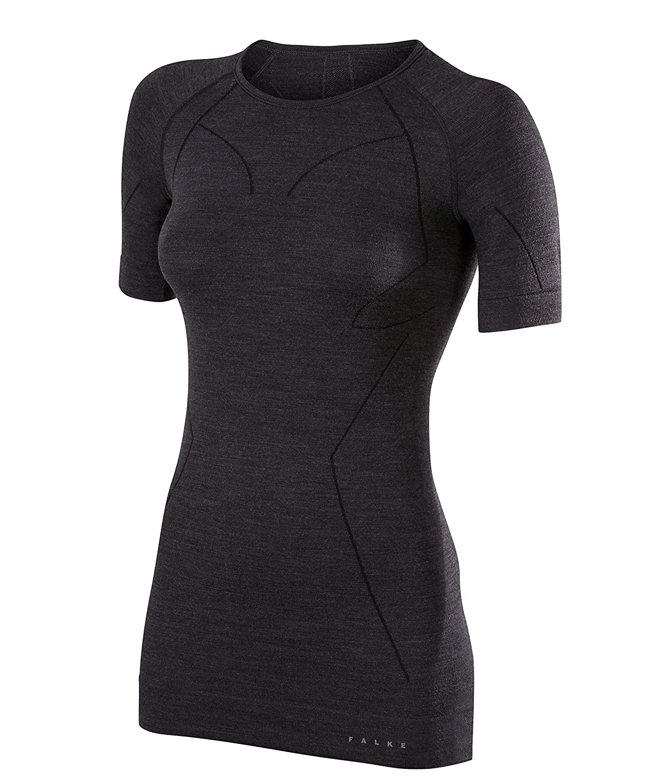 FALKE Womens Wool Tech Short Sleeve Shirt Black