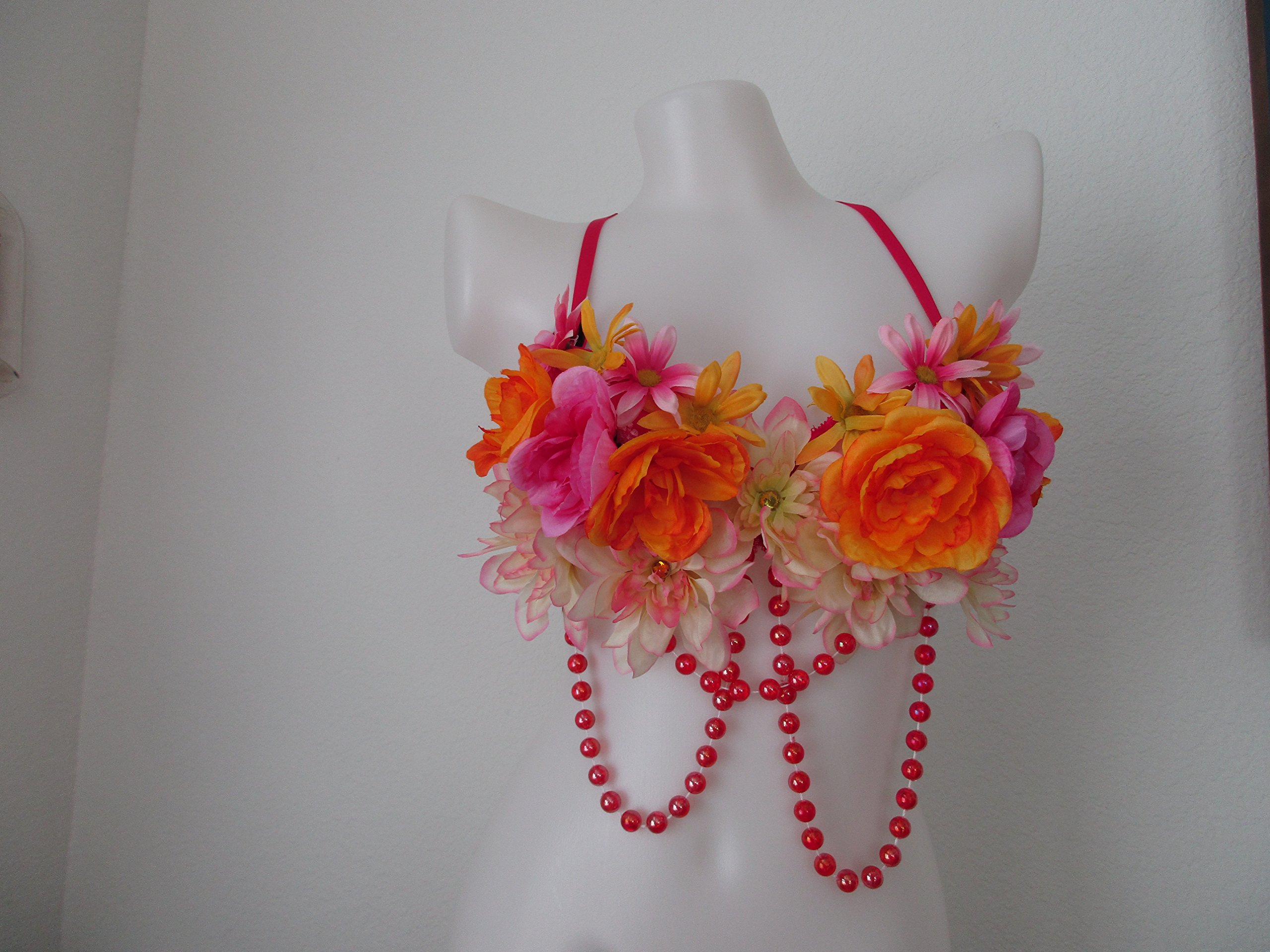 Pink Orange Rave Wear Bra 34A - Floral Embellishment - Nice for EDC / Coachell