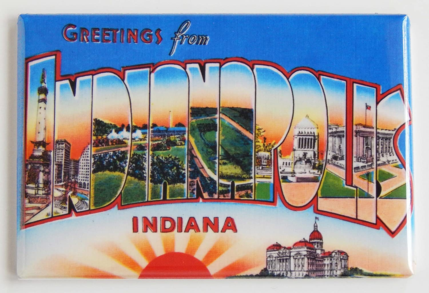 Greetings From Indianapolis Indiana Fridge Magnet (2 x 3 inches)