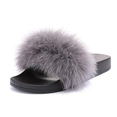 separation shoes cb4df dc4fa MForshop Scarpe Donna Ciabatte EC Pelliccia Pelo Pantofole Sandali pelose  Diapositive 997