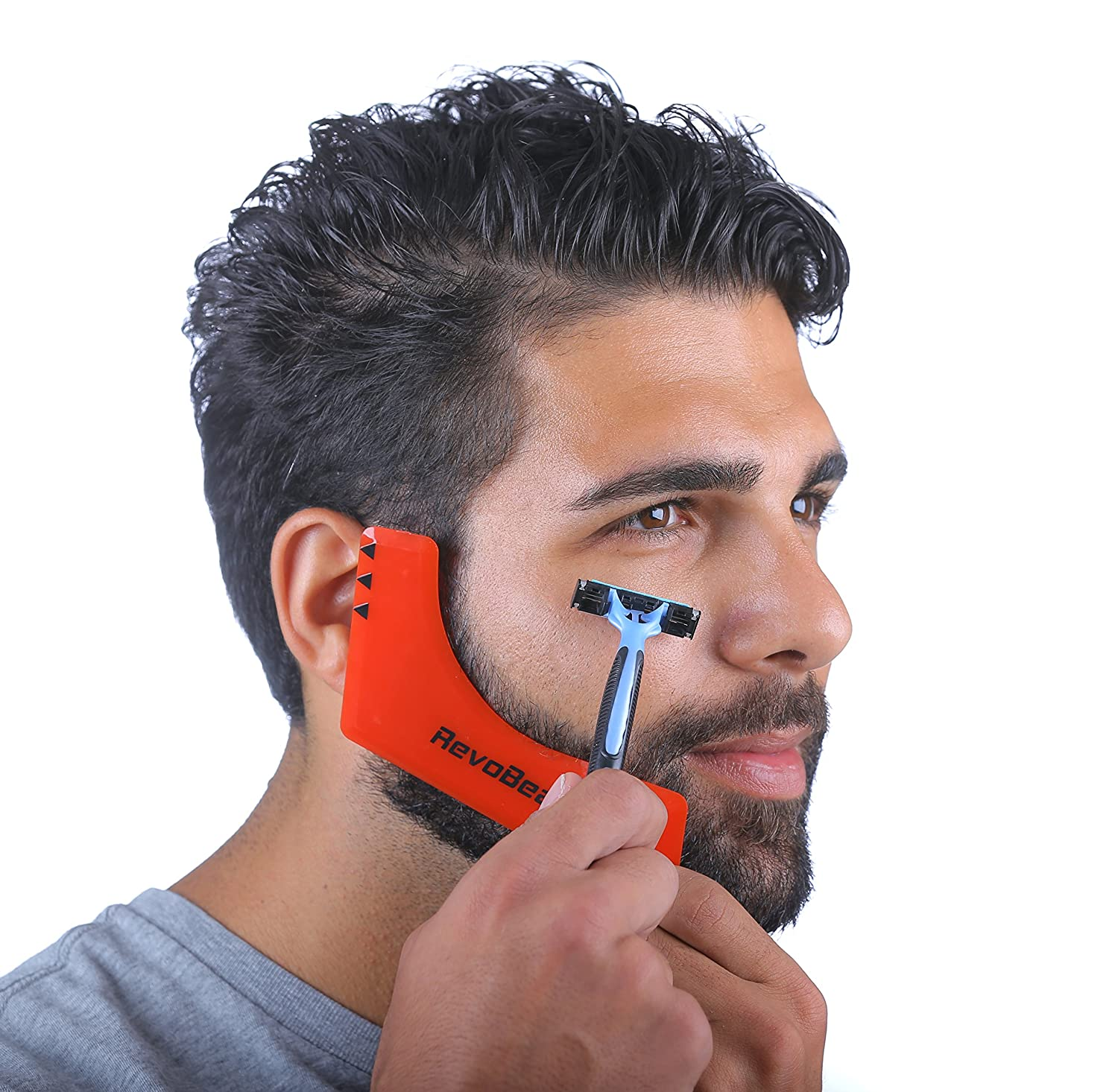 RevoBeard Beard Shaping Tool - Template - Stencil- Guide for Men - Lineup & Edging - Barber Kit - Lightweight and Flexible - Premium One Size Fits All - Curve Cut, Step Cut, Neckline & Goatee Trimming z105