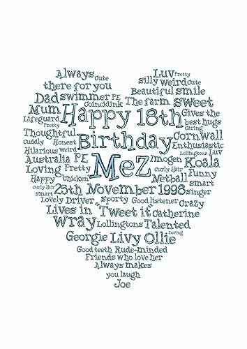 18th birthday gift word art print gift personalised letter artwork