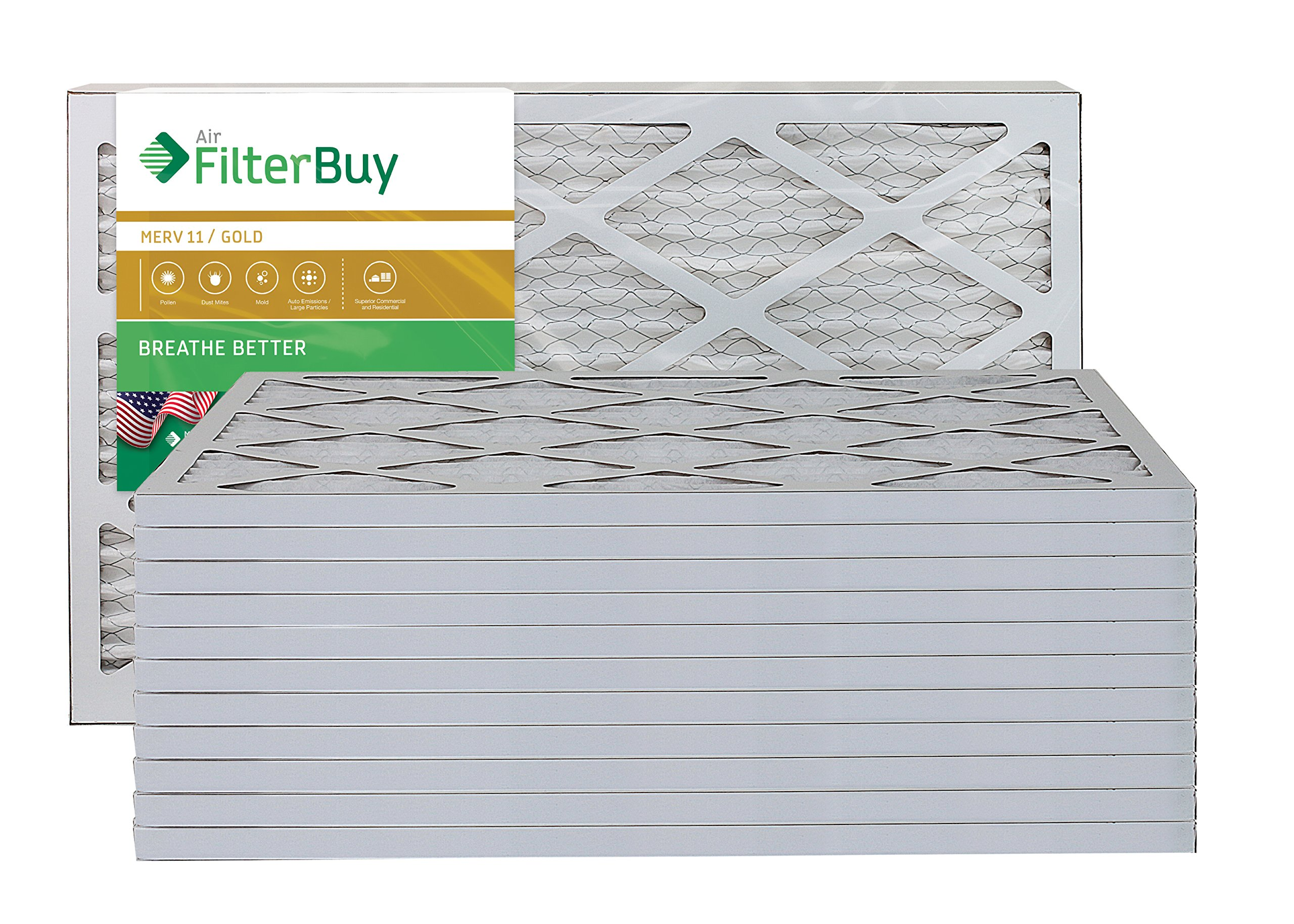 AFB Gold MERV 11 14x24x1 Pleated AC Furnace Air Filter. Pack of 12 Filters. 100% produced in the USA.
