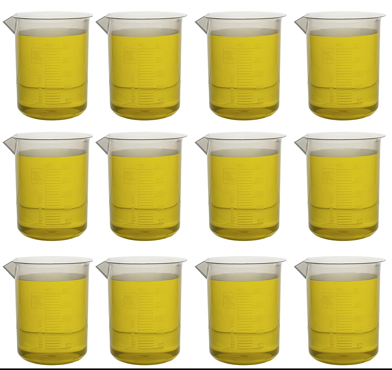 250ml Beaker; Polypropylene; 10mL Graduations - Pack of 12 - Eisco Labs