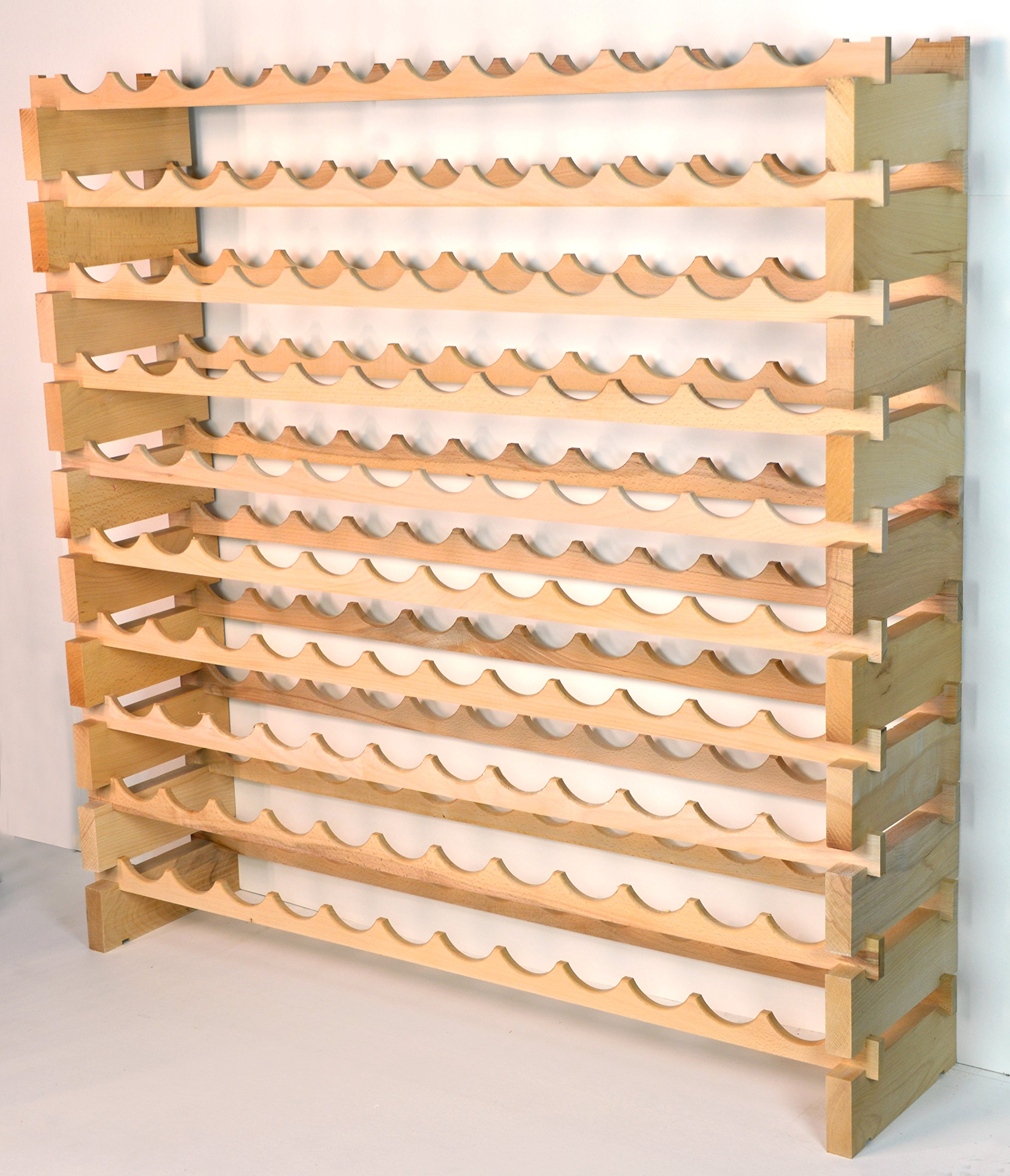 Modular Wine Rack Beechwood 48-144 Bottle Capacity 12 Bottles Across up to 12 Rows Newest Improved Model (120 Bottles - 10 Rows) by sfDisplay.com,LLC. (Image #6)