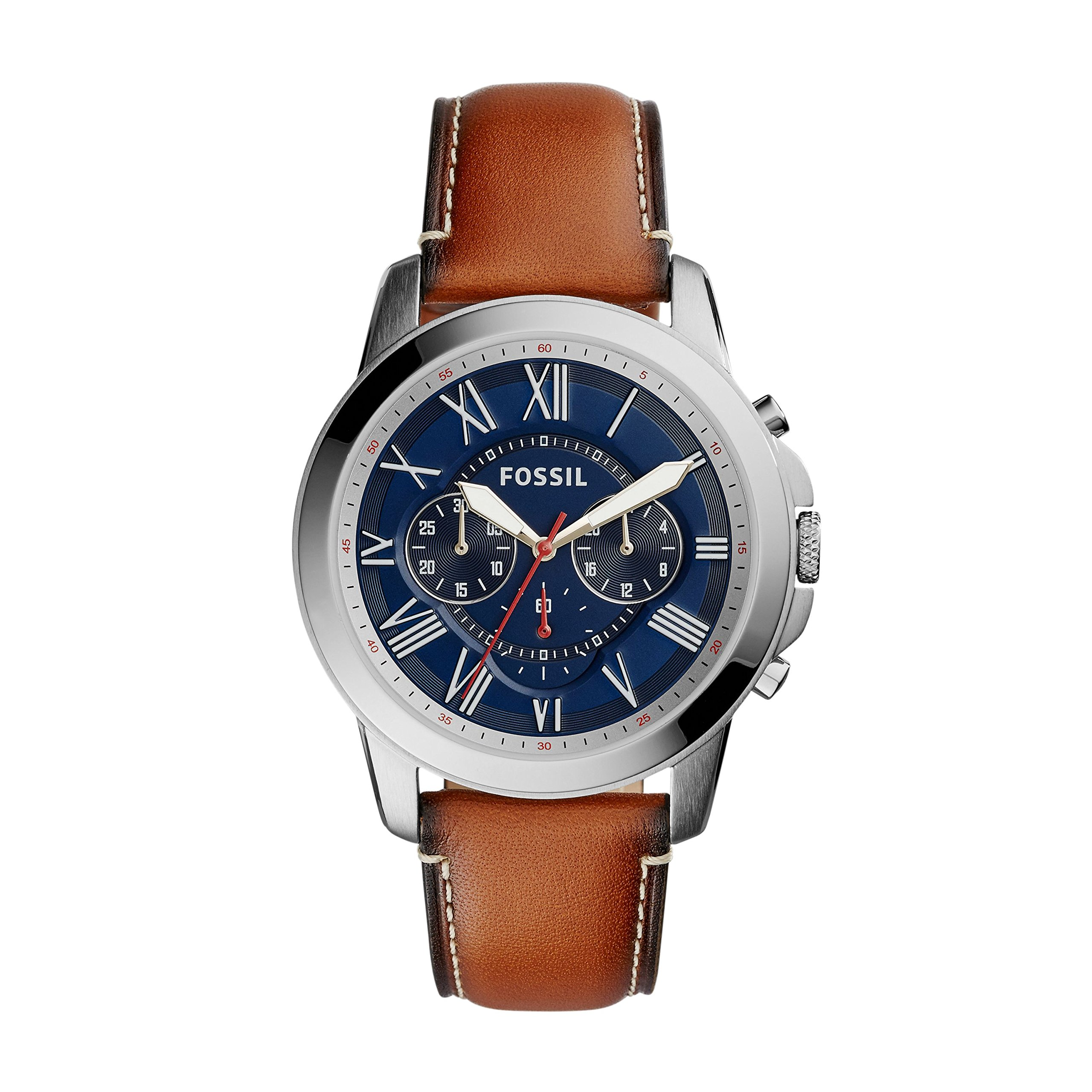 Fossil Men's Grant Quartz Stainless Steel and Leather Chronograph Watch, Color: Silver, Brown (Model: FS5210IE) by Fossil