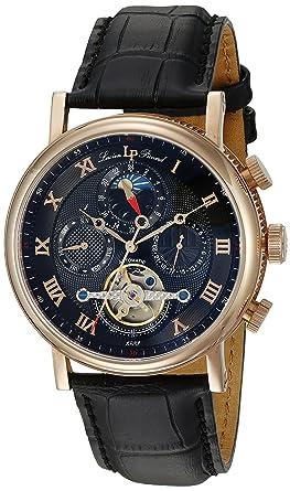lucien piccard men s automatic watch black dial analogue lucien piccard men s automatic watch black dial analogue display and black leather strap lp