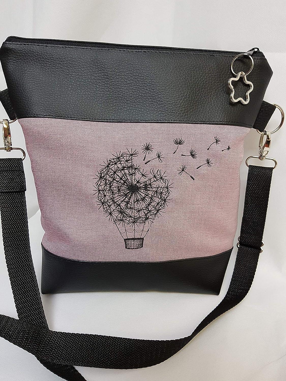 Handtasche Pusteblume Heissluftballon Umh/ängetasche Pusteblume rosa Kunstleder mit Anh/änger Tasche handmade