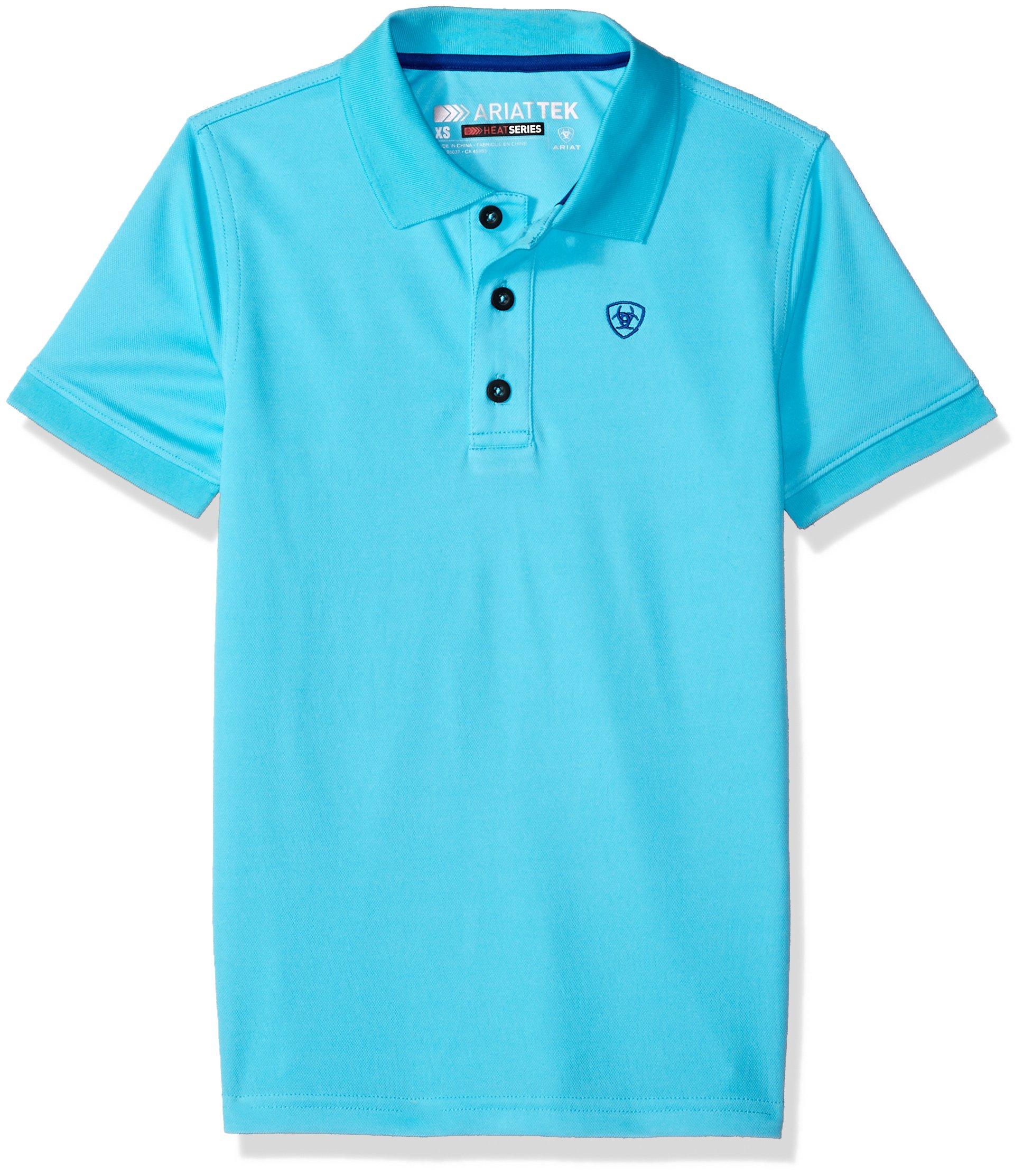 Ariat Boys' Big Tek Polo Shirt, Blue, Medium