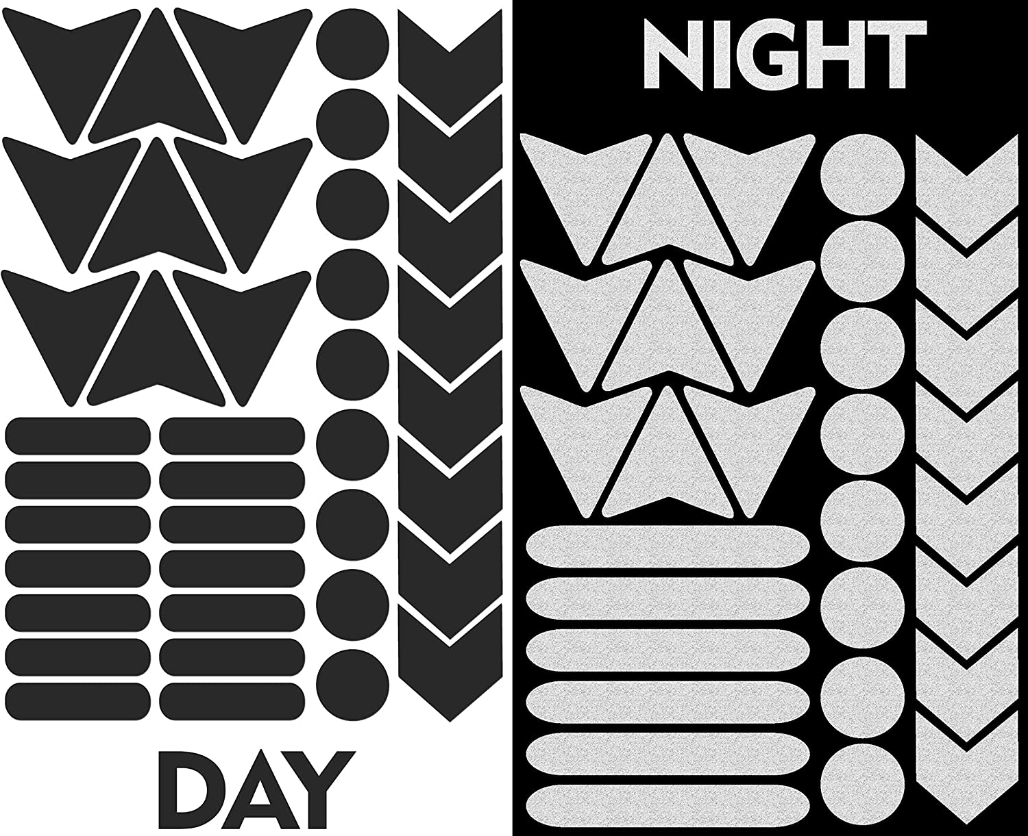Biomar Labs/® 40pcs High Visibility Warning Reflective Stickers Kit Decals Black Reflector Highly Night Safety Visibility Universal Self Adhesive D 46