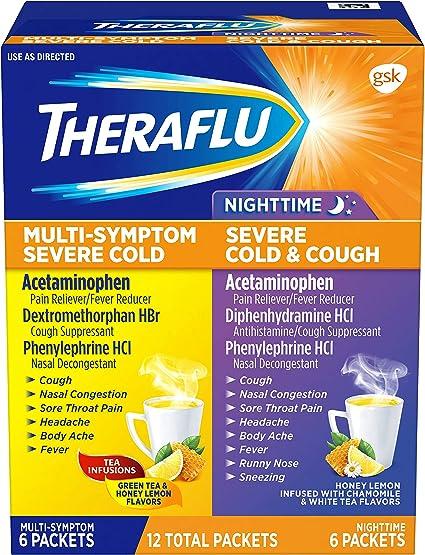 Theraflu Multisymptom Severe Cold Relief Medicine Nighttime Severe Cold Cough Relief Medicine Powder 12 Packets