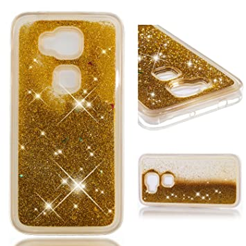 MSOSA Funda Huawei G8/G7 Plus Silicona Purpurina Carcasa TPU Cristal Bumper Fundas Case Cover para Huawei G8/G7 Plus_Oro