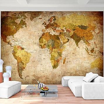 Fototapete Weltkarte Vintage Vlies Wand Tapete Wohnzimmer ...