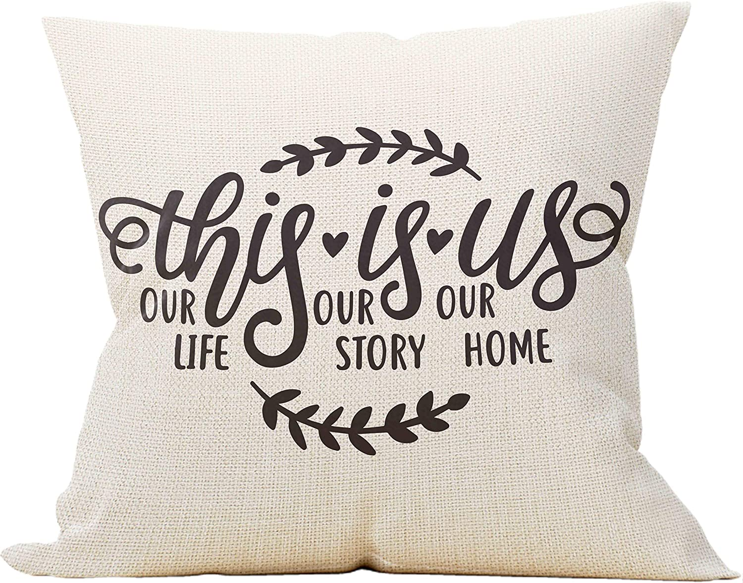 Mancheng-zi This is Us, Our Life, Our Story, Our Home Throw Pillow Case, Wedding Gifts for Couple, Engagement Gift, 18 x 18 Inch Decorative Cotton Linen Cushion Cover for Sofa Couch Bed