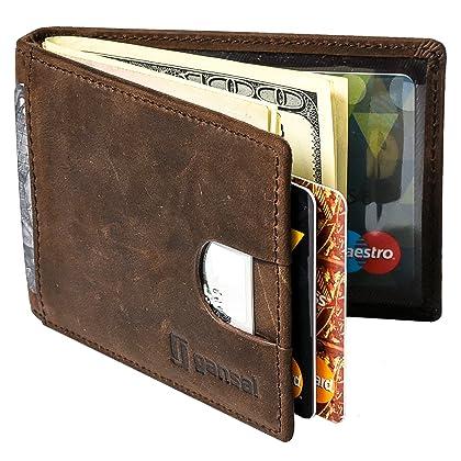 4ab8dea0f164 GANSAL Mens Bifold Leather Slim Wallet - RFID Blocking Money Clip - Credit  Card Holder