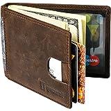 GANSAL Mens Bifold Leather Slim Wallet - RFID Blocking Money Clip - Credit Card Holder, Dark Brown, Minimalist