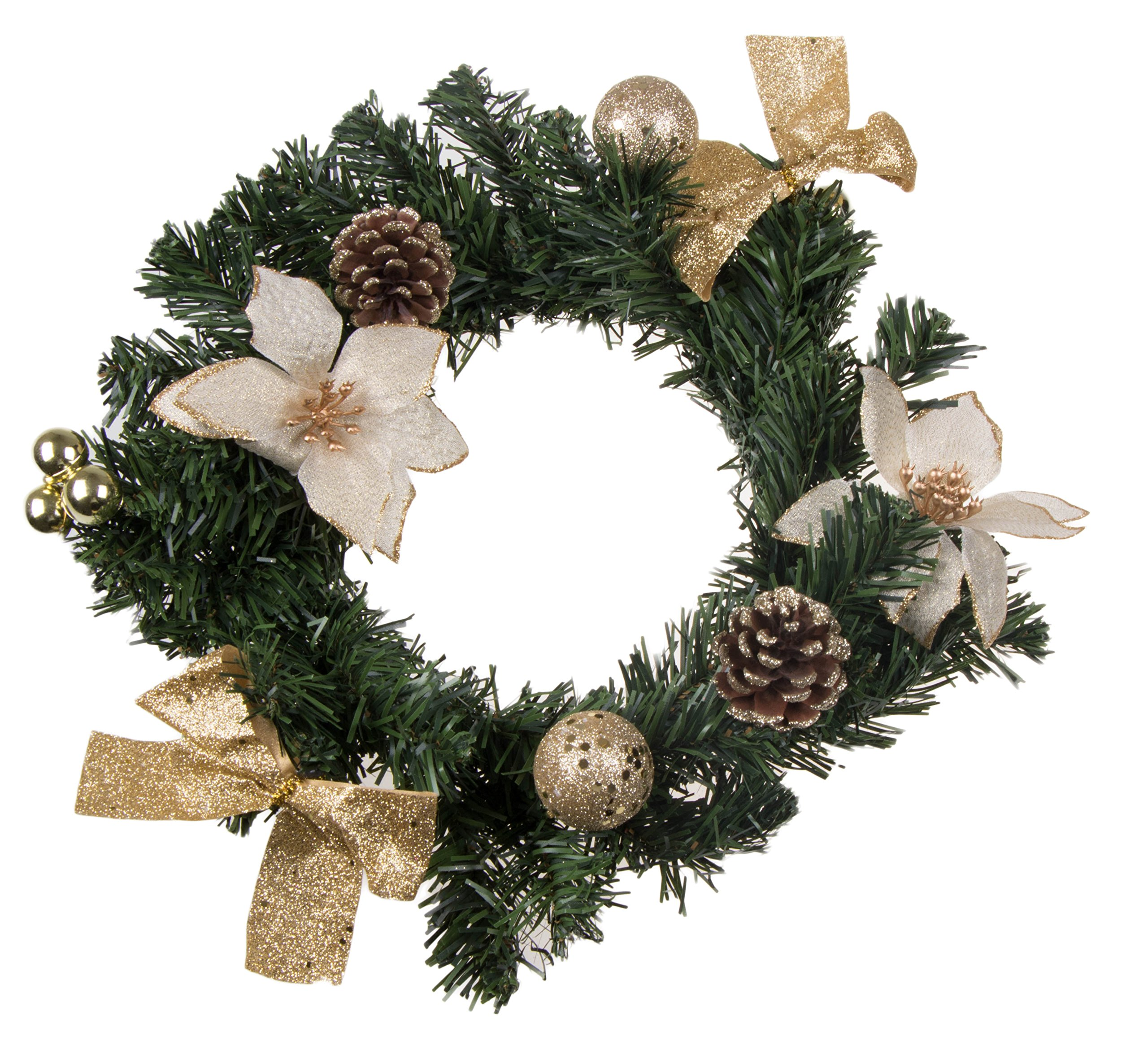 "Christmas Wreath with White Poinsettia, Snow Covered Pine Cones, Gold Bows and Ornaments | Perfect for Interior or Exterior Christmas Decor | Hang on Doors, Walls, Stairs and More! | 10""x10""x3"""