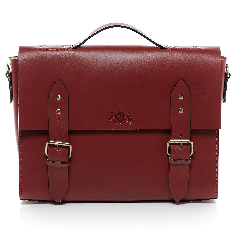 SID & VAIN Aktentasche Leder Boston groß Businesstasche Herren 15 Zoll Laptop Bürotasche Laptoptasche mit Extra-Abtrennung bis 15, 4 Zoll echte Ledertasche Herrentasche rot