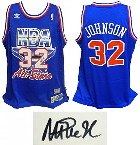 a6485db5a4c2 Magic Johnson Signed Jersey - Western Conference 1992 All Star Game  Official Adidas Blue Swingman -