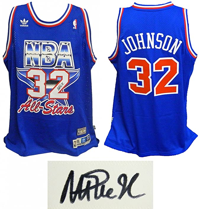 Magic Johnson Signed Jersey - Western Conference 1992 All Star Game  Official Adidas Blue Swingman - Autographed NBA Jerseys at Amazon s Sports  Collectibles ... 925b5defc