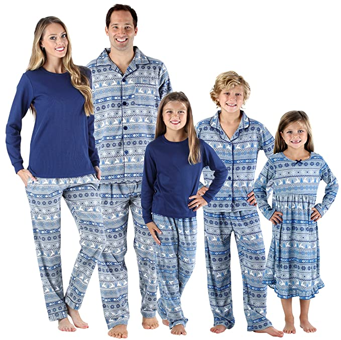 1ada4959fb SleepytimePjs Holiday Family Matching Navy Nordic PJs Sets for The Family  Women s Lounger (STM-