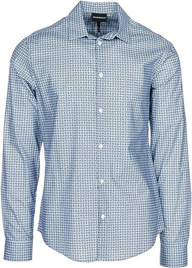 Emporio Armani Camisa Hombre Fantasia BLU L: Amazon.es: Ropa y accesorios