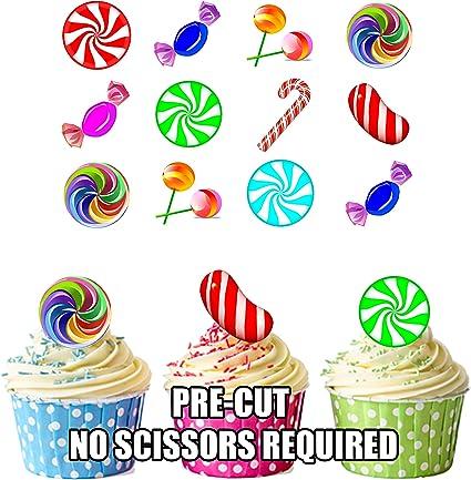 Precortado Candy Land/crush caramelos – Decoración comestible para cupcakes/tarta decoración (Pack de 12): Amazon.es: Hogar