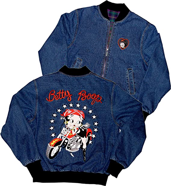 Amazon.com: Licensed Betty Boop Scoot Biker Reversible Denim ...