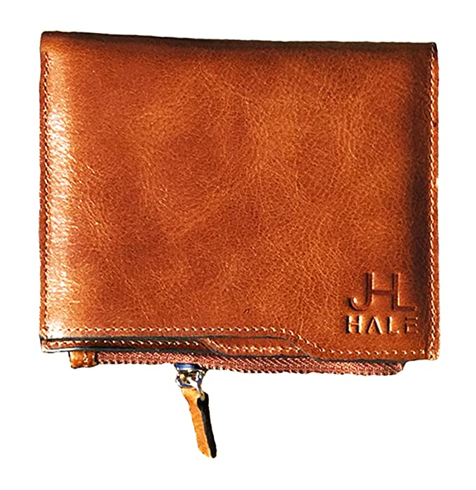 JL HALE Genuine Leather Wallets For Men: Best RFID Blocking Bifold Wallet with Zipper, Soft, Slim & Brown (Cliff) best men's RFID wallets