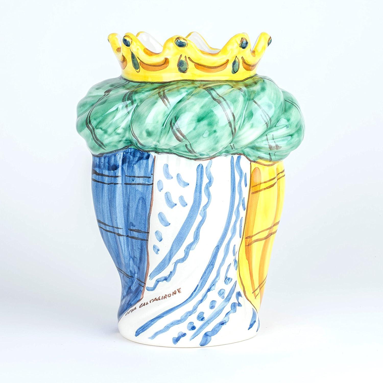 Testa di Moro H cm 23 in Ceramica di Caltagirone Fatta a Mano Viso Bianco