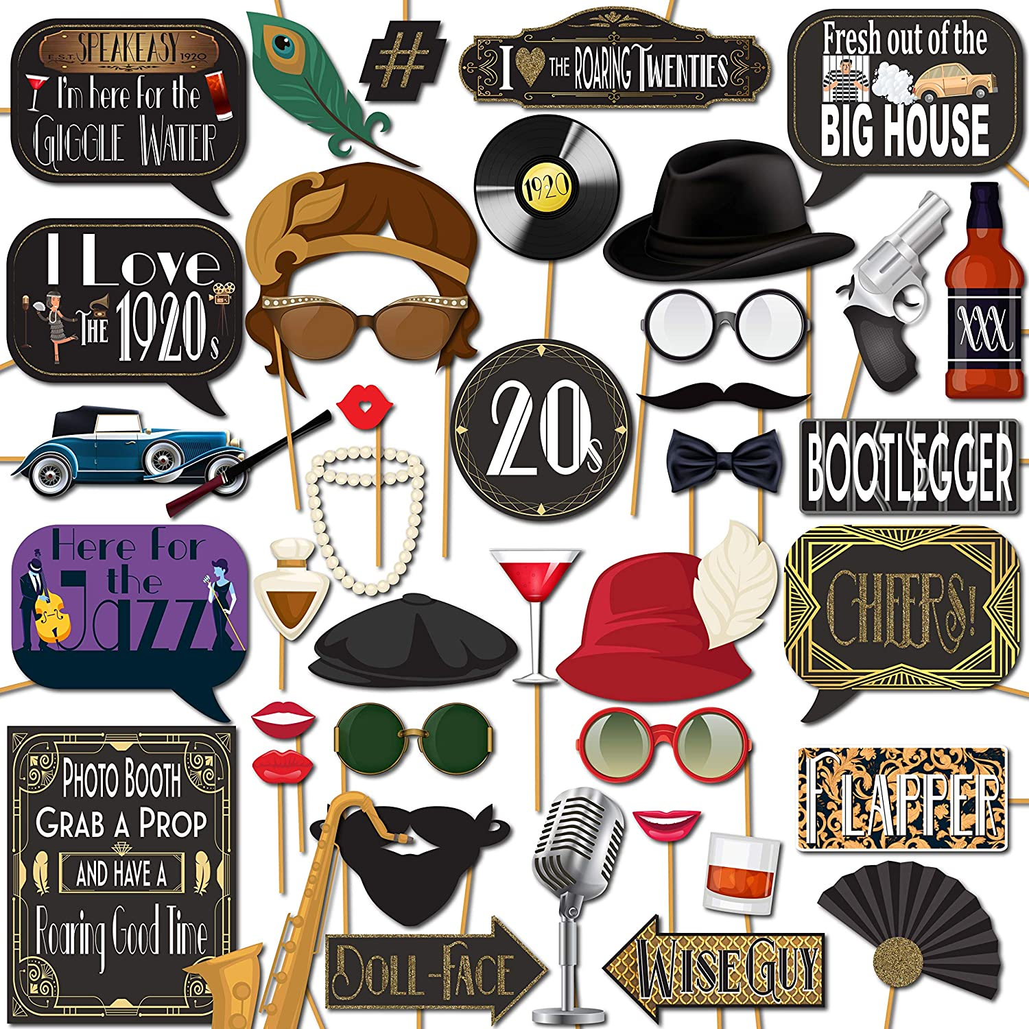 1920s Flapper Roaring 20's Party Photo Booth Props 41 Pieces with Wooden Sticks and Strike a Pose Sign by Outside The Booth