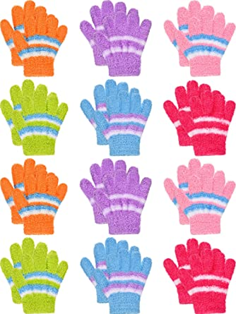 Tupa 16 Pairs Winter Kids Warm Magic Gloves Full Fingers Stretchy Knitted Gloves for Boys or Girls