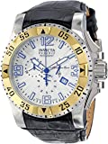Invicta Men's 10908 Excursion Reserve Chronograph Silver Tone Textured Dial Black Leather Watch