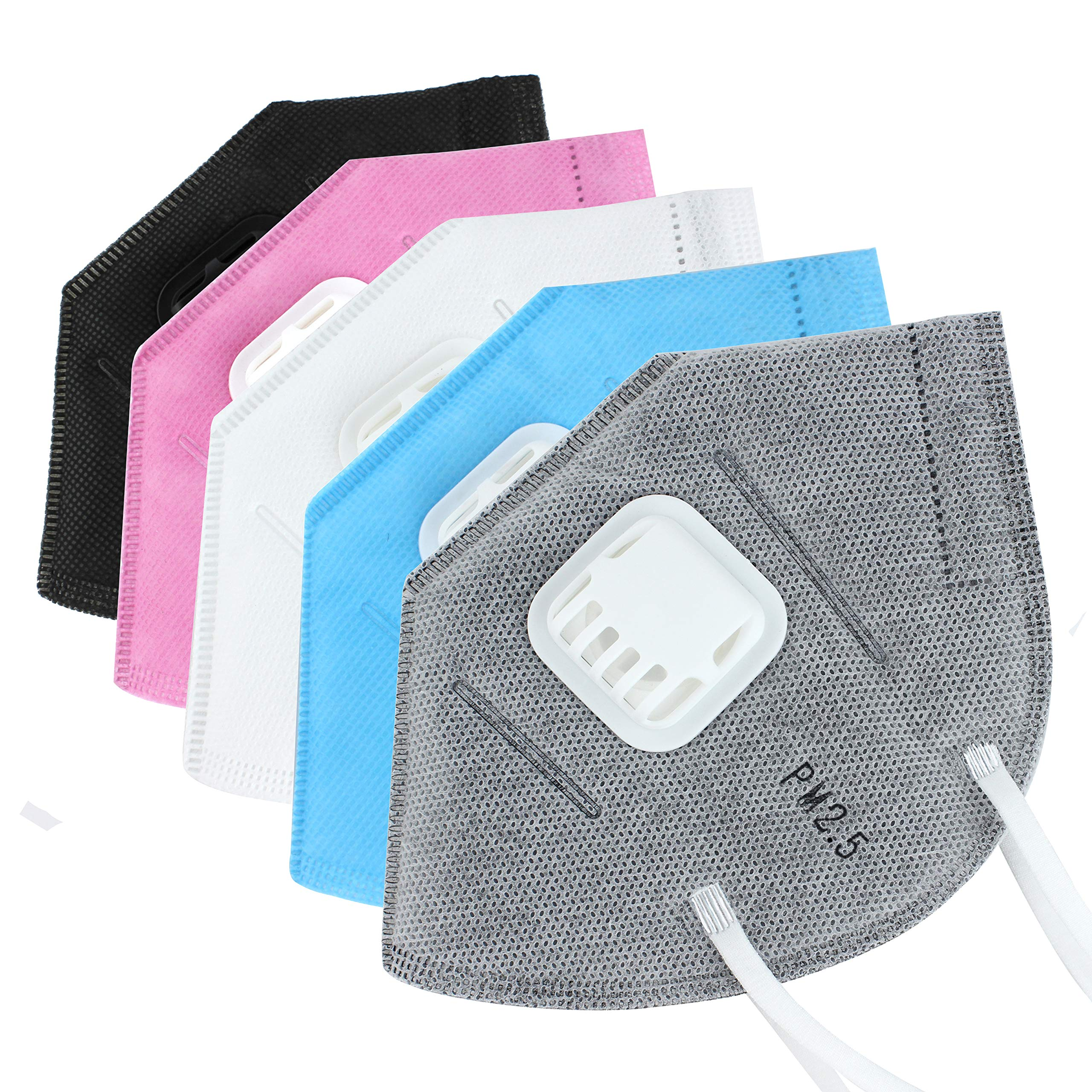 Muryobao N95 Mouth Mask Anti Pollution Respirator Mask Anti Dust Mask Outdoor Protection Insert Valve Filter for Men Women 5 Pack Grey Black White Blue Pink by Muryobao