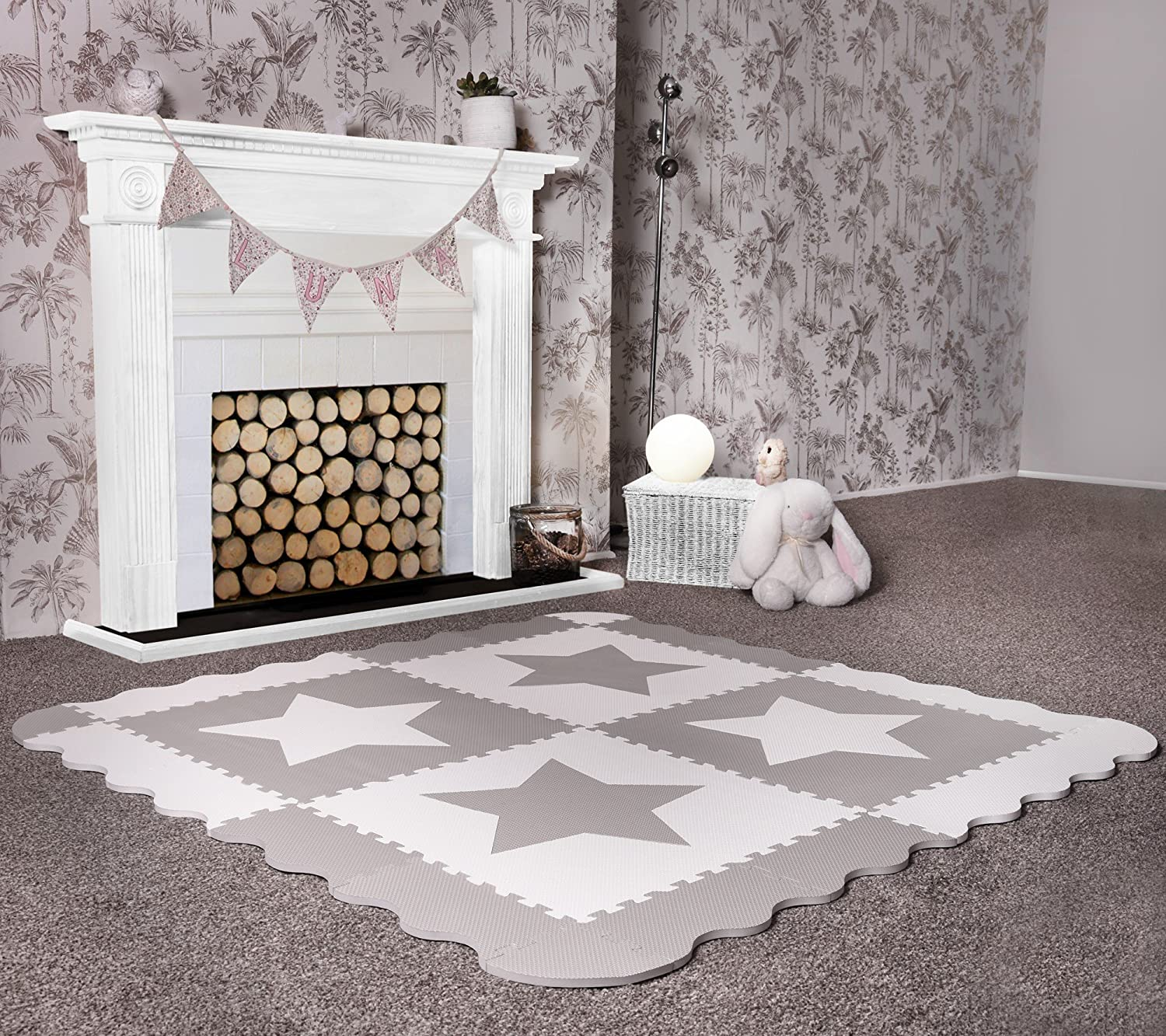 4 Large Grey Interlocking Foam Baby Play Mat Star Tiles - Play Mats with Edges. Each tile 60 x 60cms. Total 1.2m2. For the Love of Leisure