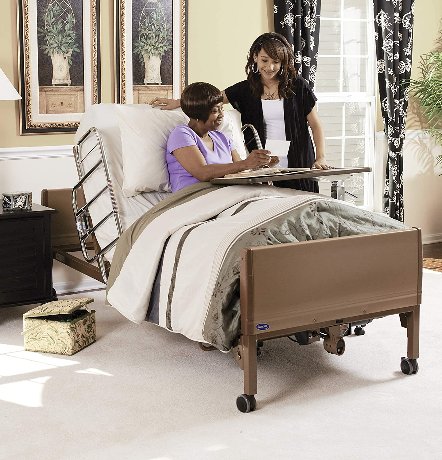 "Invacare 5410LOW Height Adjustable, Low Full Electric Homecare Bed, Brown, 20""x36""x88"""