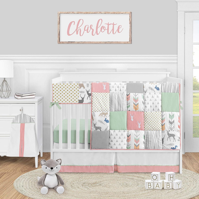 Sweet Jojo Designs Woodland Arrow Deer Baby Girl Nursery Crib Bedding Set - 5 Pieces - Coral Mint and Grey Woodsy