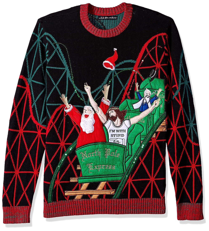 Blizzard Bay Mens Standard Jesus & Santa Coaster Buddies Ugly Christmas Sweater Blizzard Bay Mens Apparel E72964