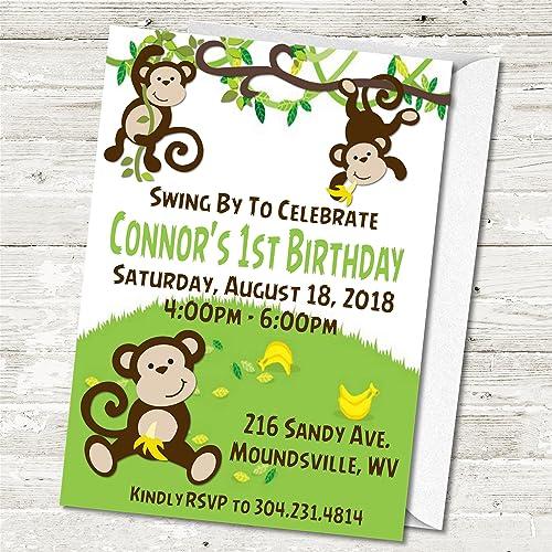 amazon com zoo monkeys birthday party invitations zoo monkey