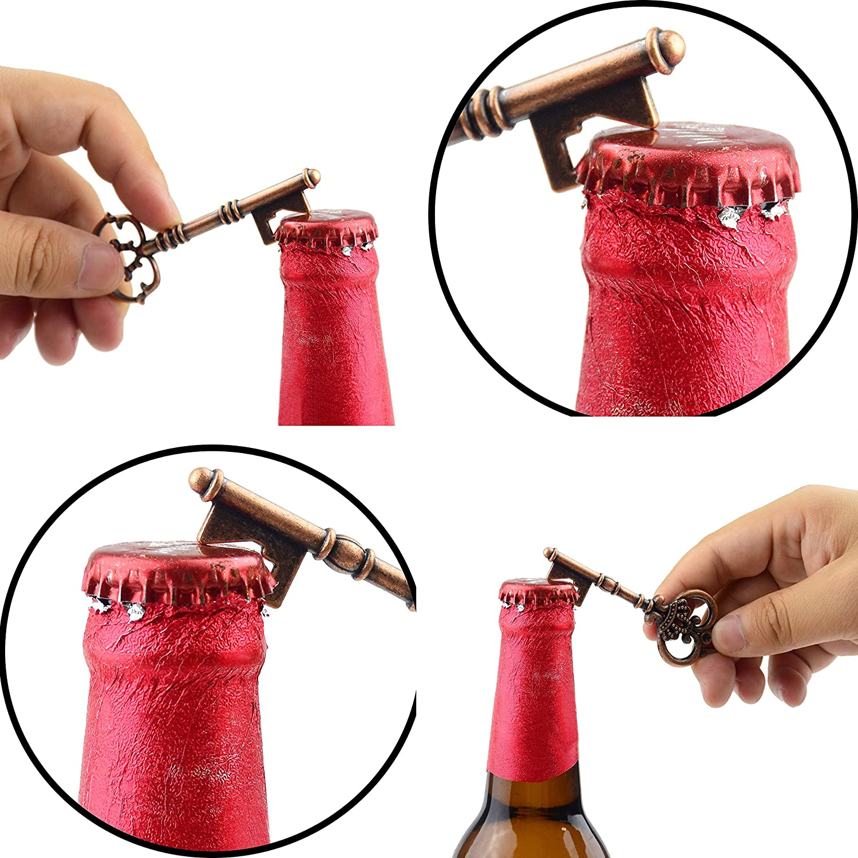 2 Styles,20 Key Openers Makhry Mixed 20 Extra Large Key Shape Bottle Openers Antique Silver Skeleton Keys Silver