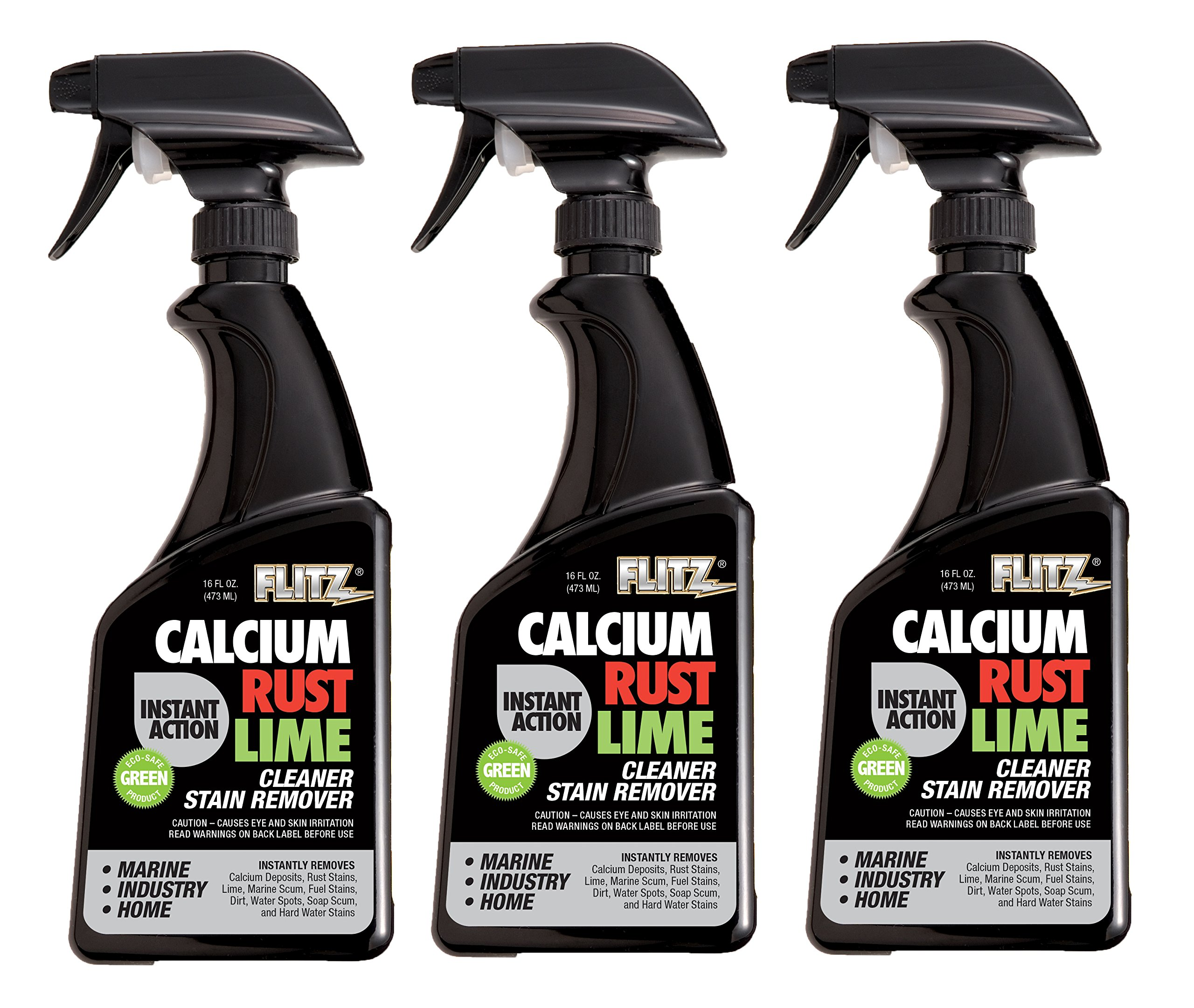 Flitz CR 01606-3A-3PK Instant Calcium, Rust and Lime Remover, 16 oz. Spray Bottle, 3-Pack