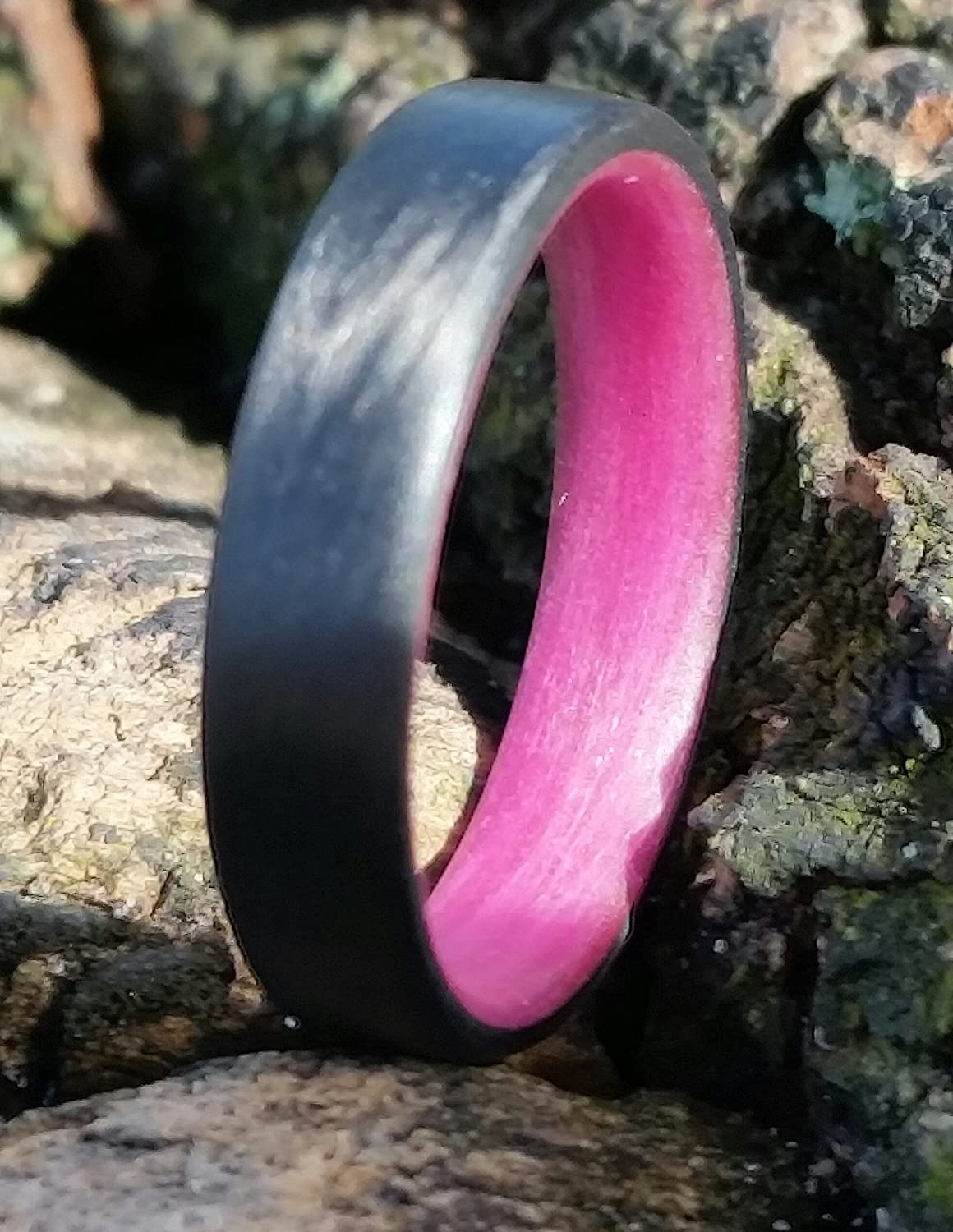 Amazon.com: Carbon Fiber Unidirectional Ring with Pink inside: Handmade