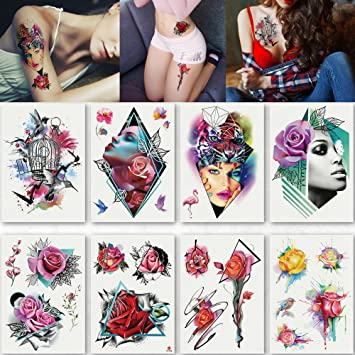 fa2d3889b Amazon.com : Kotbs 8 Sheets Large Rose Temporary Tattoo Waterproof Sexy  Bright Tattoo Sticker for Women Body Art Makeup Temporary Floral Tattoos  Fake Tattoo ...