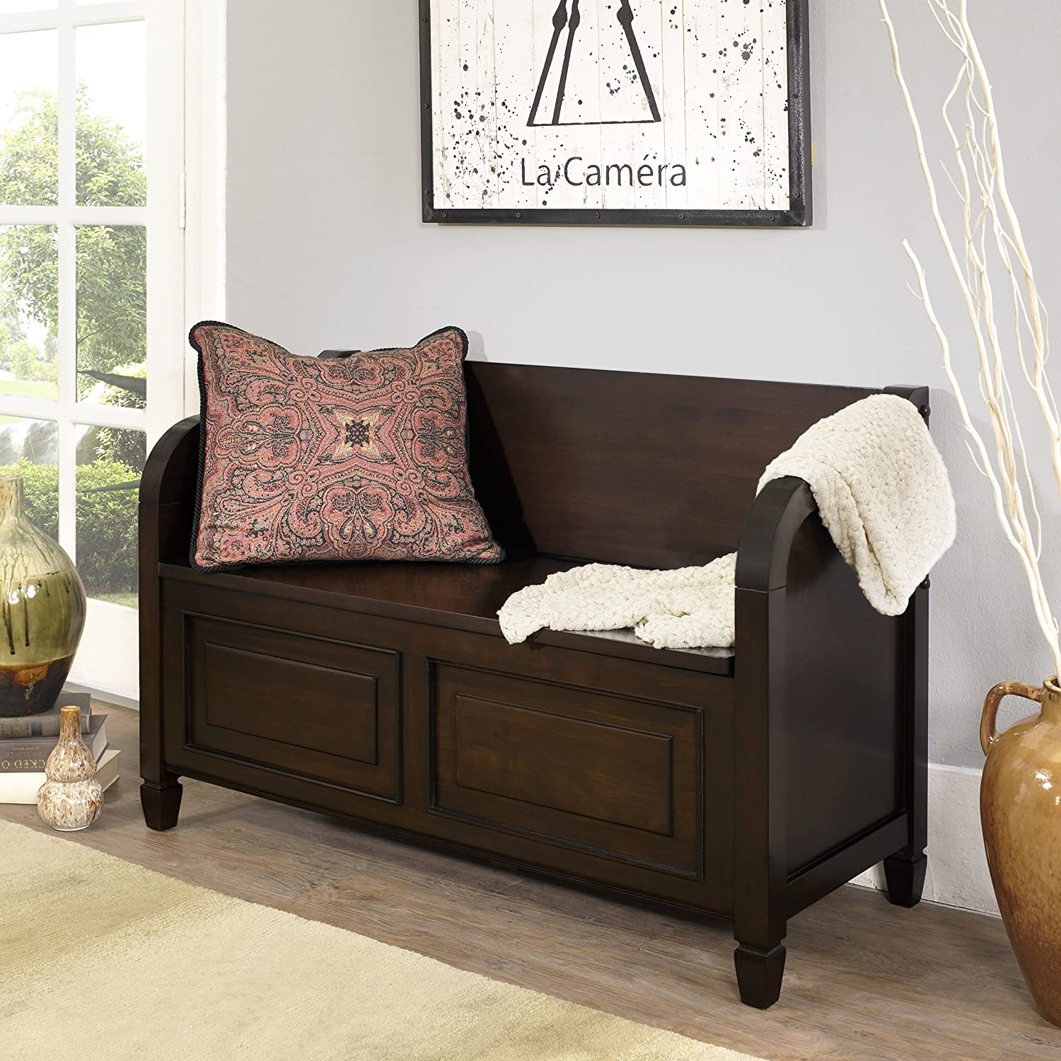 Amazon.com   Simpli Home Connaught Entryway Storage Bench, Dark Chestnut  Brown   Table Benches
