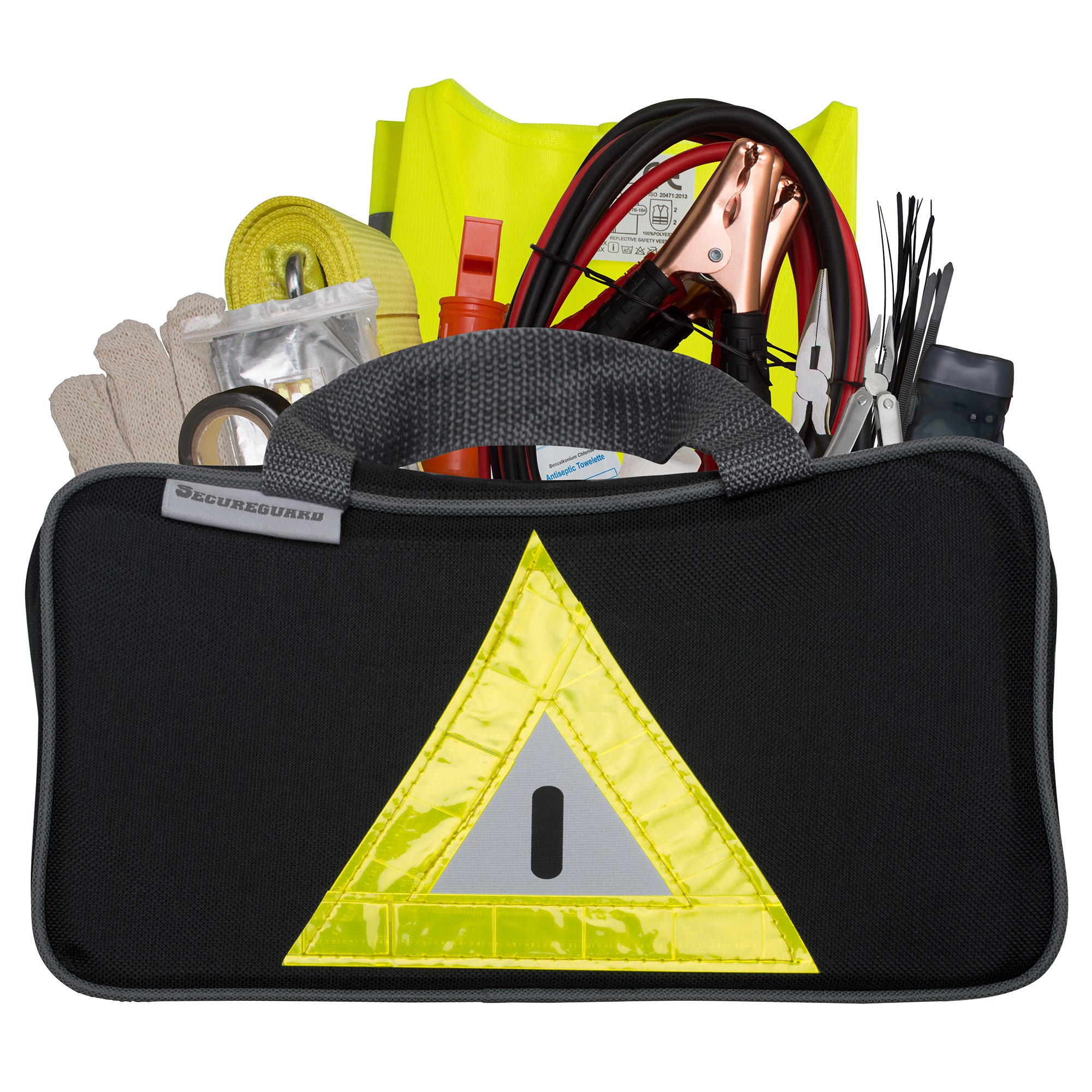 Secureguard Roadside Emergency Kit Includes - First Aid Kit, Jumper Cables, Tow Rope, and Many Other Supplies - 106 Pieces for Assistance with Most Roadside Emergencies