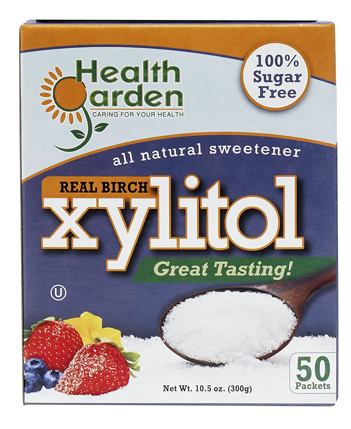 Health Garden Birch Xylitol Sweetener - Non GMO - Kosher - Made in the U.S.A. - Keto Friendly (50 Packets)