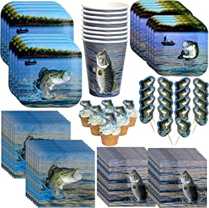 Havercamp Gone Fishin' Dinnerware Bundle | Dinner & Dessert Plates, Luncheon & Beverage Napkins, Cups, Picks | Great for Father's Day, Fishing Tournament, Birthday Party