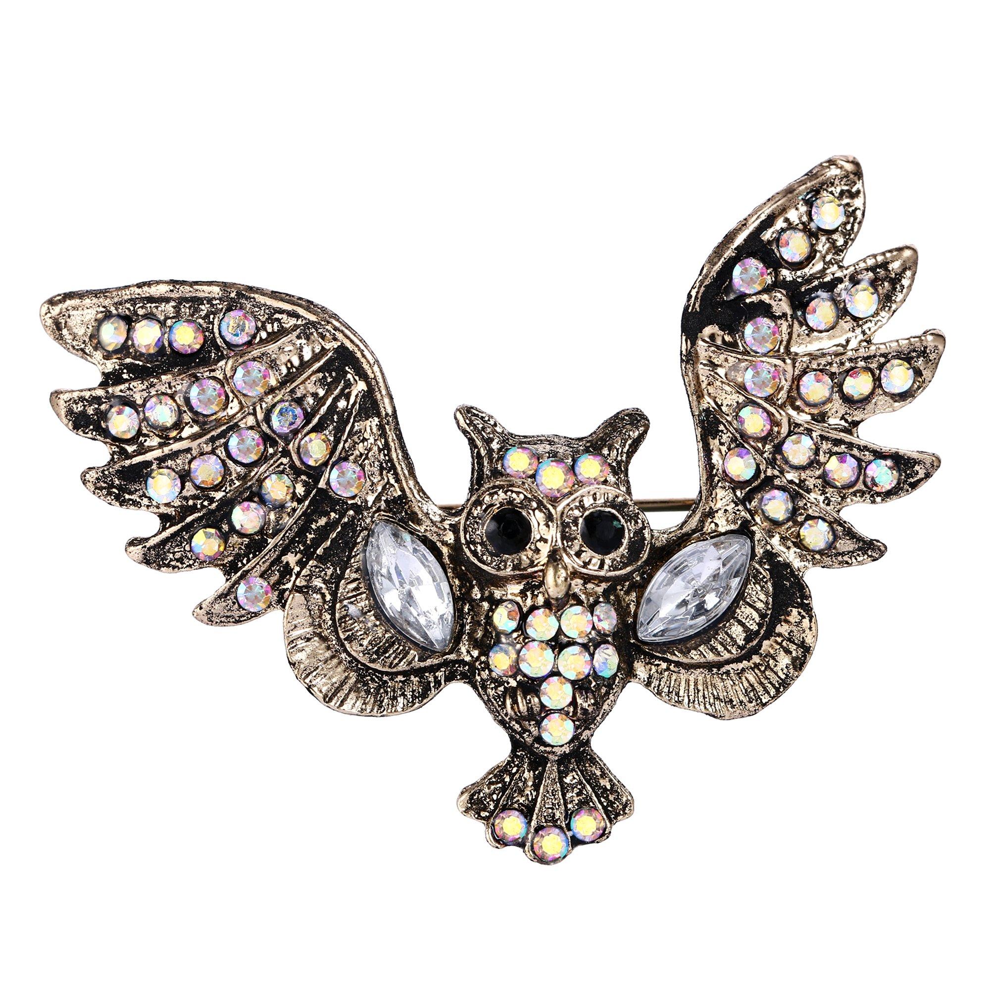 EVER FAITH Austrian Crystal Vintage Style Art Deco Owl Bird Brooch Pin Iridescent Clear AB Gold-Tone