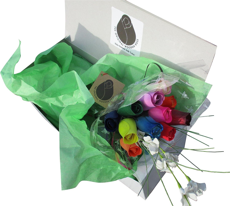 The Original Wooden Rose Assorted Colors Floral Flower Bouquets in a Gift Box (1 Dozen Bouquet) …
