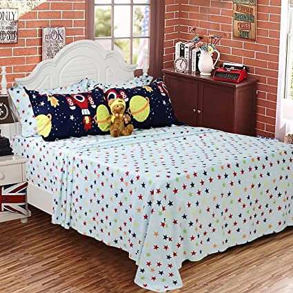Brandream Toddler Bedding Sets For Boys Sheets Twin Size Space Bedding Sets  100% Cotton Kids